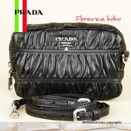 PRADA Shoulder Bags Black Nappa Lambskin Gaufre Pochette Shoulder Bag