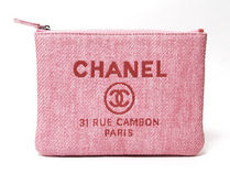 CHANEL DEAUVILLE Canvas Blended Fabrics Bag in Bag Plain Clutches