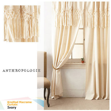 ↑ Knotted Macrame Curtain Long Tame Processing