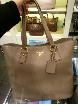 PRADA Casual Style A4 3WAY Plain Leather Office Style