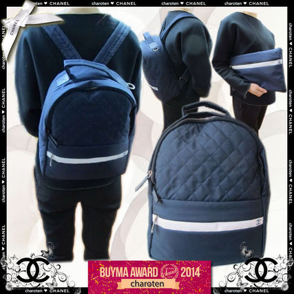 Navy Blue/GHW Nylon Backpack With White Stripe