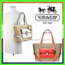 Coach Blended Fabrics A4 Plain Straw Bags