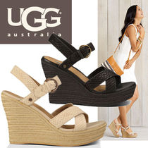 UGG Australia Open Toe Plain Leather Party Style Platform & Wedge Sandals