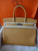 HERMES Birkin Casual Style A4 Plain Leather Handmade Office Style