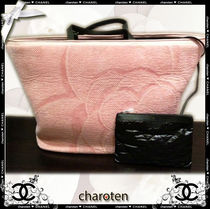 CHANEL SPORTS Pink/SHW Flower Printed Cotton Canvas Tote Bag