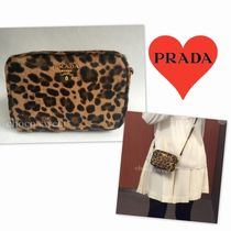 PRADA Leopard Patterns Spawn Skin Shoulder Bags