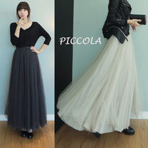 Pleated Skirts Plain Long Party Style Maxi Skirts