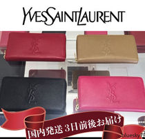 Saint Laurent Unisex Plain Leather Long Wallets