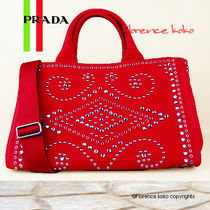 PRADA CANAPA Rosso Red Bijoux Studded Canapa Tote Bag