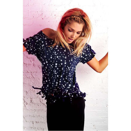 Crew Neck Short Star Short Sleeves Cropped