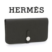 HERMES Dogon Plain Leather Long Wallets