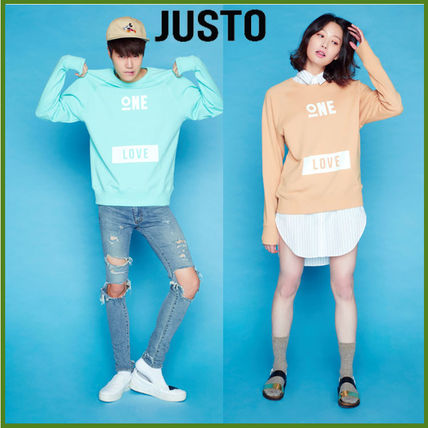 JUSTO Long Sleeve Pullovers Unisex U-Neck Long Sleeves Cotton