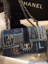 CHANEL MATELASSE Blue/GHW Patchwork Denim Medium Flap Bag