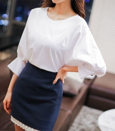 Shirts & Blouses Bi-color Cotton Puff Sleeves Shirts & Blouses 4