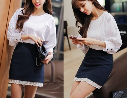 Shirts & Blouses Bi-color Cotton Puff Sleeves Shirts & Blouses 5