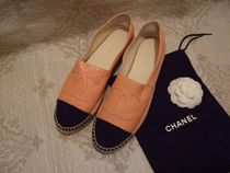 CHANEL ICON Unisex Street Style Leather Loafers & Slip-ons