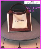 BALENCIAGA NAVY Canvas Plain Party Style Totes