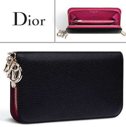 Black × brilliant pink by color long wallet with charm