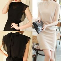 Chiffon Sleeveless Plain Medium Elegant Style Dresses