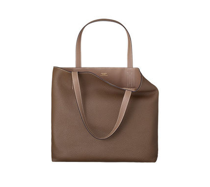 Double 45 taurillon & etoupe/taupe gray swift leather tote