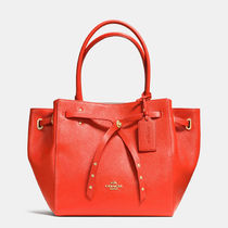 Coach Watermelon Refined Pebbled Leather Small Turnlock Tie Tote
