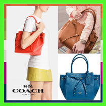 Coach Denim Blue Small Pebbled Leather Turnlock Tie Tote Bag