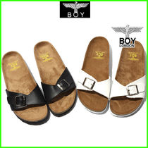 BOY LONDON Open Toe Platform Faux Fur Street Style Footbed Sandals