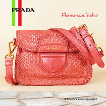 PRADA Begonia Coral Weave Leather Madras Shoulder Bag