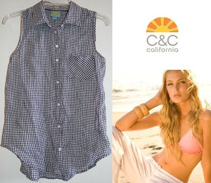 Gingham Sleeveless Cotton Medium Tanks & Camisoles