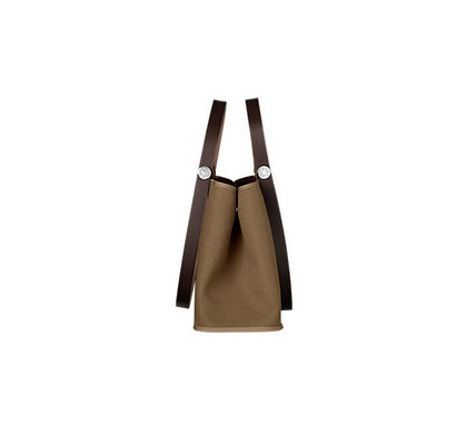 HERMES Totes Cabag Elan in Etoupe grey & ebene canvas tote bag 2