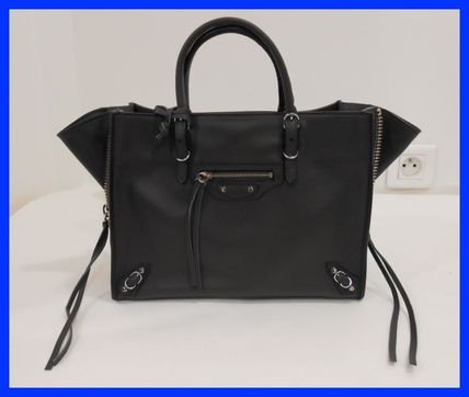2WAY Plain Leather Party Style Totes