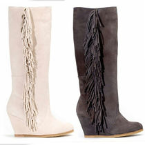 Stradivarius Leather Wedge Boots