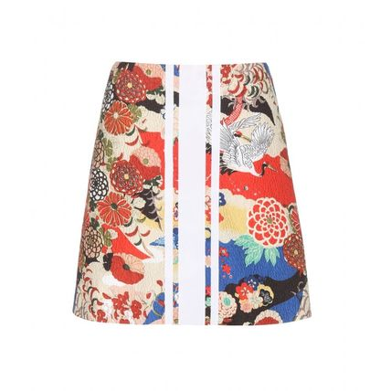 Short Flower Patterns Silk Skirts