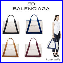 BALENCIAGA NAVY Canvas A4 Plain Party Style Totes