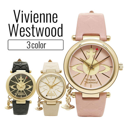 Casual Style Leather Round Quartz Watches Bridal