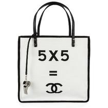 CHANEL Unisex Canvas A4 Bi-color Plain Totes