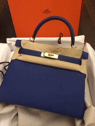 HERMES Kelly 2WAY Plain Leather Handmade Party Style Office Style
