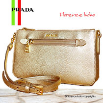 PRADA SAFFIANO LUX Platino Metallic Saffiano Lux Leather Clutch Shoulder Bag