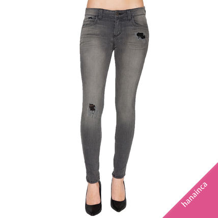 Blended Fabrics Plain Cotton Long Skinny Jeans