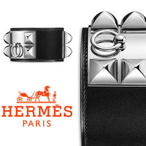 HERMES Collier de Chien Blended Fabrics Plain Leather Bracelets