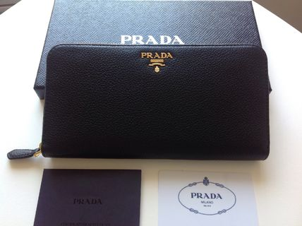 PRADA top quality leather round long wallet black