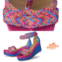 HERMES Leather Heeled Sandals