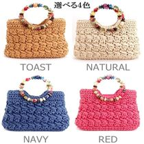 Tropical Patterns Vanity Bags Plain Handmade Straw Bags