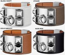 HERMES Collier de Chien Unisex Plain Leather Bracelets