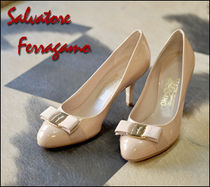 Salvatore Ferragamo Round Toe Enamel Office Style High Heel Pumps & Mules