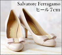 Salvatore Ferragamo Round Toe Leather Office Style High Heel Pumps & Mules