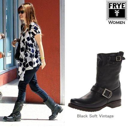 Round Toe Casual Style Plain Leather Block Heels Flat Boots