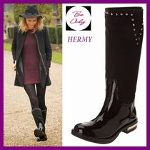 Be Only Round Toe Studded Plain Flat Boots