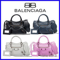 BALENCIAGA CITY Calfskin 2WAY Plain Handbags