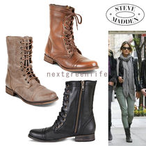 Steve Madden Lace-up Plain Leather Block Heels Lace-up Boots